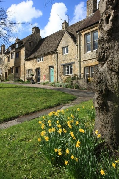 The High Street Burford Oxfordshire on a Spring morning