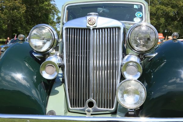 An MG Sports Saloon at The Classic car show Boconnoc Estate near Lostwithiel Cornwall in August 2012