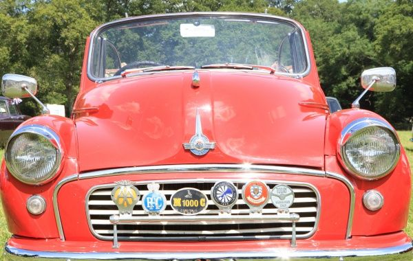 An Morris Minor at The Classic car show Boconnoc Estate near Lostwithiel Cornwall in August 2012