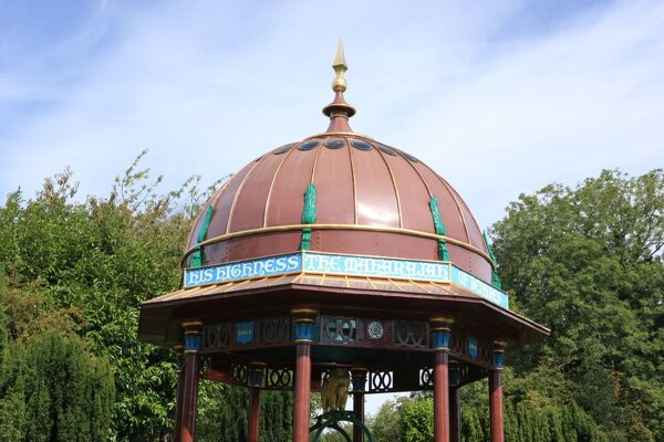 The Maharajah's Well in the Oxfordshire village of Stoke Row. The well is 368 deep, was given the the village by an Indian Maharajah in 1831, with its gilded dome and elephant sitting astride the well housing