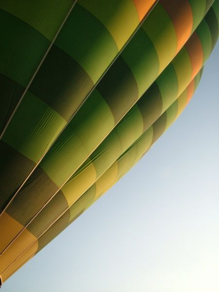 Taken from the outside of the balloon at it rises into the air and giving the impression of peace and tranquillity