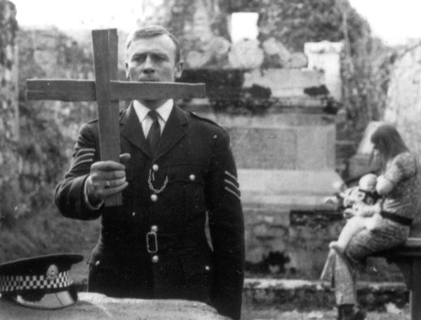 Edward Woodward as Sergeant Howie in a sequence from Robin Hardy's The Wicker Man, based on a script from Anthony Shaffer