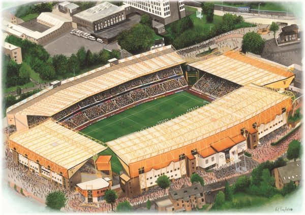 Watercolour of Molineux, home of Wolverhampton Wanderers F.C., 1889 - current day. Capacity 31,700. Original painting created in 2001 by Kevin Fletcher