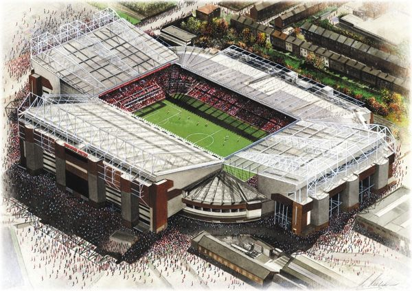 Watercolour of Old Trafford, home of Manchester United F.C., 1910 - current day. Capacity 75,811. Original painting created in 2001 by Kevin Fletcher