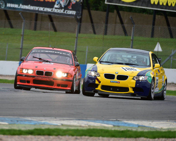 Jeremy Cooke, Mike Dowd, BMW M3 GT4, Thomas Houlbrook, BMW M3 Evo E36, New Millenium Series, Nextec Dunlop Puma Cup, Classic Sports Car Club, CSCC, Late Summer race Meeting, Donington Park, Sunday, 4th September, 2016, circuit racing, cars, saloons