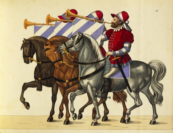 Militaria, Germany, 16th century. Trumpeters on horseback with Bavaria colors, in the suite of the cavalrymen during the tournements. Engraving by Franz Rottenkamp, Stuttgart, 1842