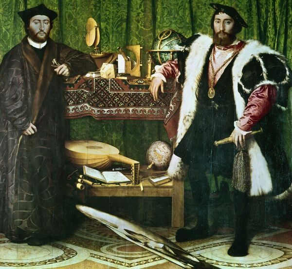 'The Ambassadors',, (1533): Jean de Dinteville (1504-1555) and Georges de Selve (1508-1551), Bishop of Lavaur, ambassadors at the court of Henry VIII of England. Hans Holbein the Younger (1497-1543) German-born artist. Condition before cleaning