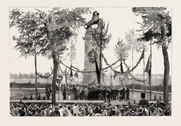 THE ANNIVERSARY OF THE BATTLE OF WATERLOO, THE STATUE AT QUATRE BRAS, BELGIUM, engraving 1890, engraved image, history, arkheia, illustrative technique, engravement, engraving, victorian, Arts, Culture, 19th Century Style, Retro Styled, Vintage