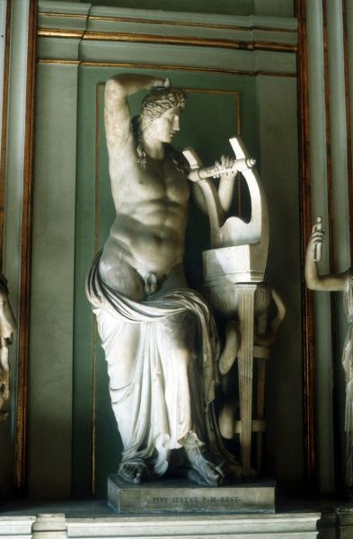 Apollo with lyre: In Greek pantheon, god of music, poetry, archery, prophecy and healing