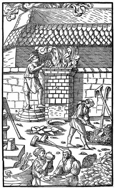 Blast furnace for smelting iron ore. From Agricola De re Metallica, Basle, 1556. Woodcut