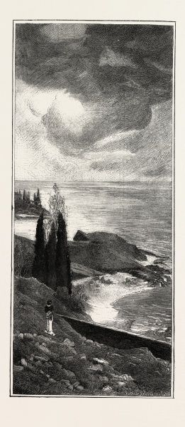 Coast Scenery Between Mentone And Bordighera, France, Engraving 1882