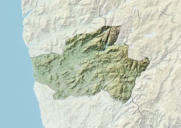District of Braga Portugal Relief Map Relief map of the district