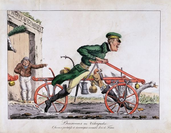 Draisien or Velocipede shown replacing horses in the French post service. Coloured lithograph cartoon, 1818