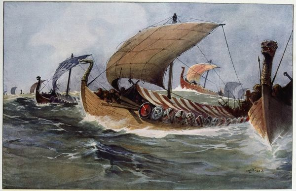 Drakkar. Viking longships under sail. Watercolour by Albert Sebille (1874-1953). Copyright must be cleared