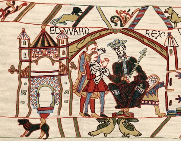Edward The Confessor (c1003-66) Anglo-Saxon king of England from 1042. Edward on his throne. Bayeux Tapestry