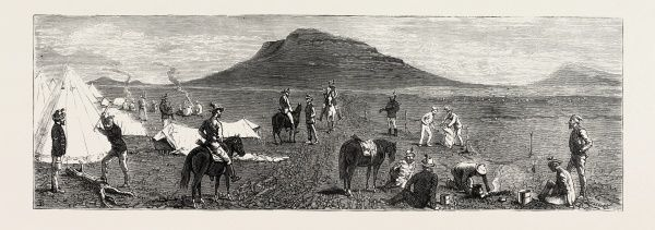 Encampment Of Bettington's Horse, Conference Hill, The Zulu War, Engraving 1879