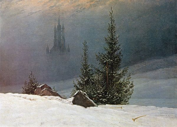 German Romantic artist Caspar David Friedrich (1774-1840). Winter Landscape with