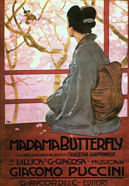 Giacomo Puccini (1858 -1924) Italian composer of operas. Poster for Madama Butterfly (Madame Butterfly) an opera in three acts, with an Italian libretto by Luigi Illica and Giuseppe Giacosa