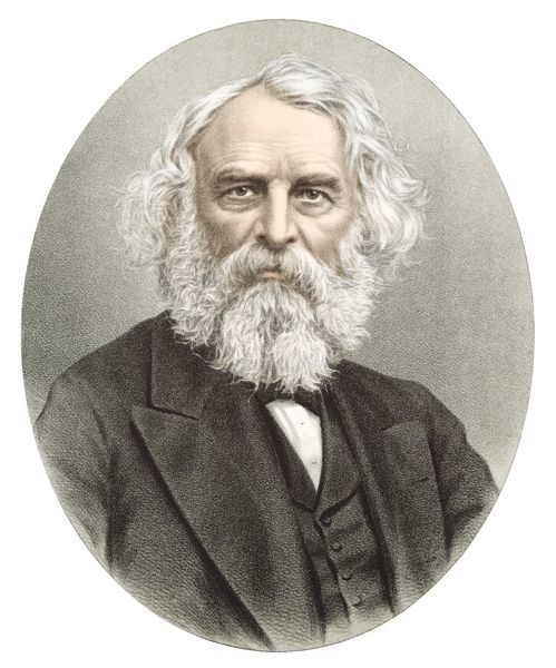 Henry Wadsworth Longfellow (1807-1882) American poet. Tinted portrait published London c1880