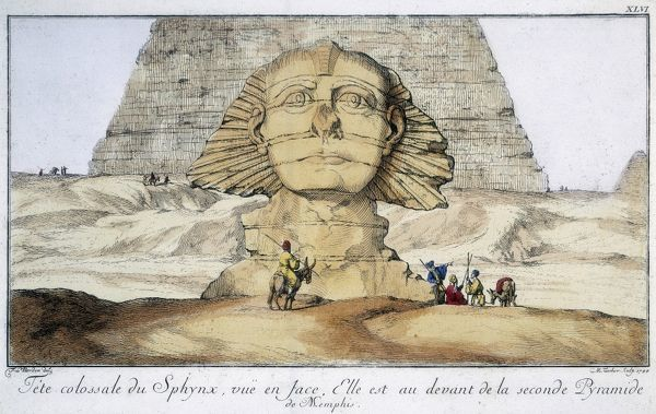 Huge head of Sphinx, seen from the front. It is just in front of the second pyramid of Memphis, Egypt. Engraving after FL Norden