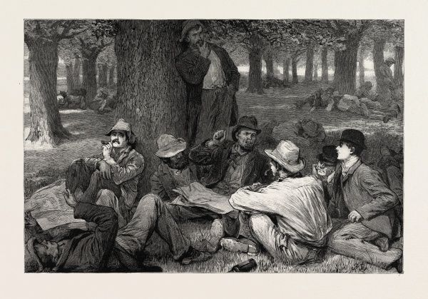 The Labour Market In Australia: The Unemployed Who Are Not Anxious For Employment, A Sketch In The Treasury Gardens, Melbourne, 1892 Engraving