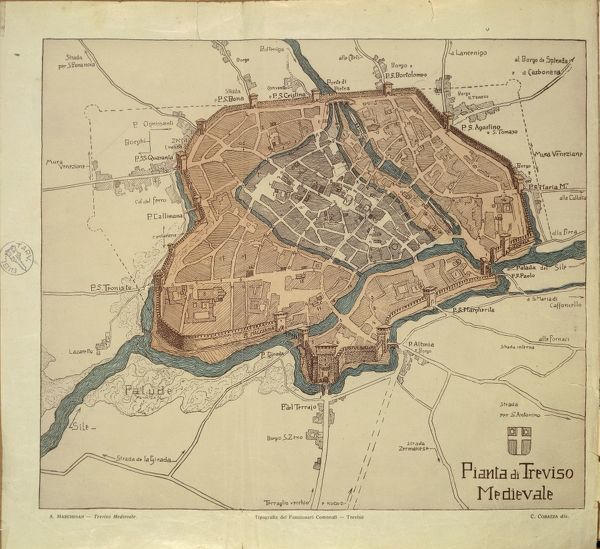 Map of Medieval Treviso from Medieval Treviso by Angelo Marchesan