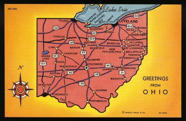 Map Of Ohio State Ca 1938 Ohio Usa Map Of Ohio State Photo