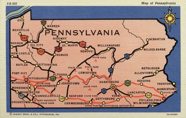 Pennsylvania In Usa Map.Prints Of Map Of Pennsylvania Ca 1937 Pennsylvania Usa Map Of