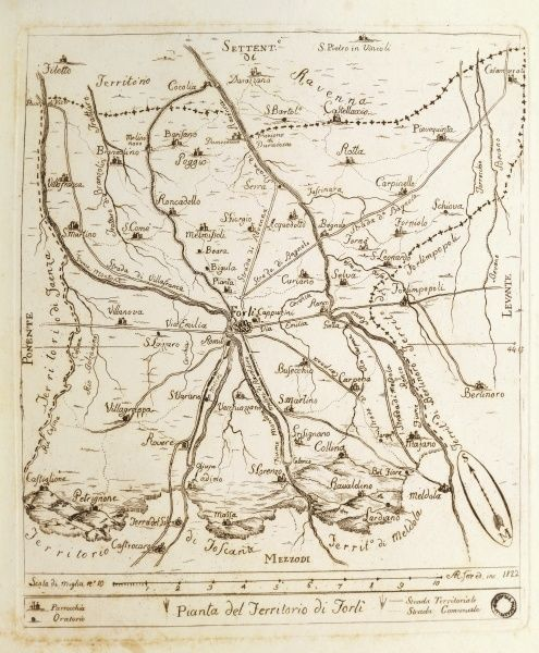 Forli Italy Map.Map Of Territory Of Forli Engraving 1822 Cartography Italy