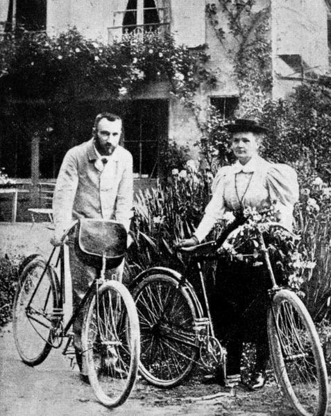 Marie (1867-1934) and Pierre (1859-1906) Curie pictured in their early married life when they enjoyed cycling in the French countryside