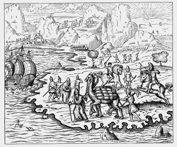 Merchants transporting goods to the coast and waiting vessel by camel. From Andre Thevet Cosmographie Universelle Paris 1575. Woodcut