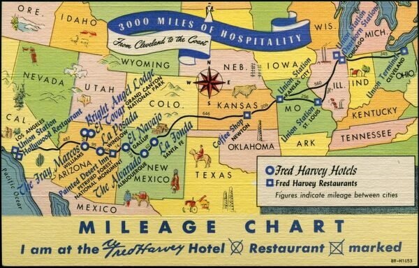 US Mileage Chart Map With Hotels And Restaurants Photo Prints - Us mileage map
