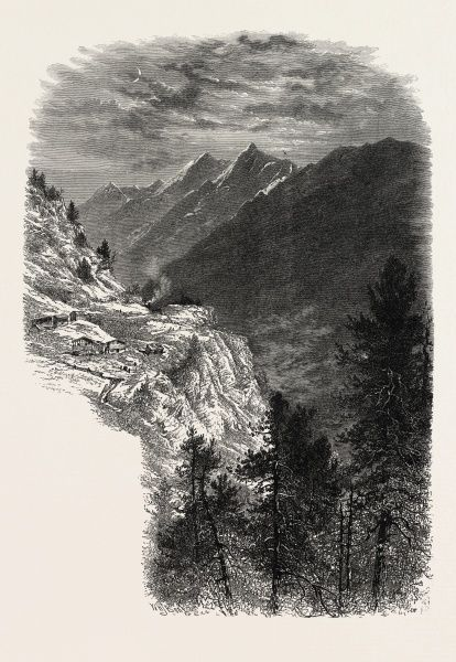 The Mischabelhorner, from the Zmutt Valley, Switzerland, 19th century engraving