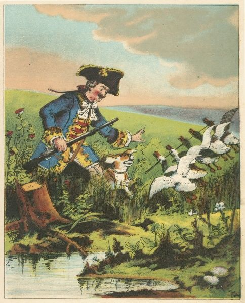 Munchausen, showing his prowess as a hunter by killing many widlfowl with a single shot. From RE Raspe The Travels and Surprising Adventures of Baron Munchausen, first published 1785. Chromolithograph from a French edition c1850