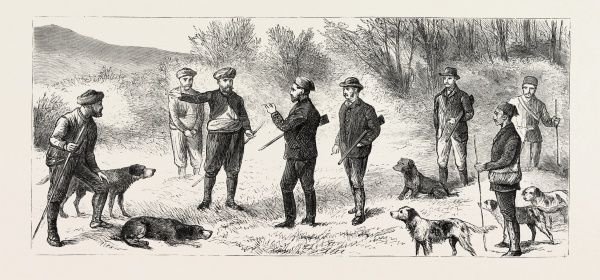 Natives Directing The Shooting Party Where To Find Big Game, Engraving 1884