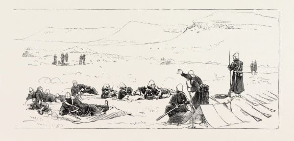Night Picket Of 94th Regiment, Upoko River, The Zulu War, Engraving 1879