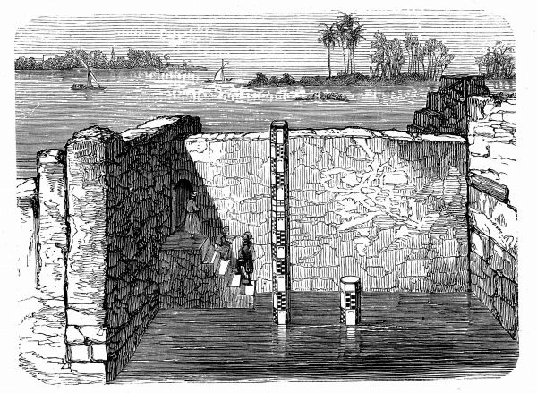 Nilometer, remains of ancient device for measuring annual inundation of the Nile. Annual flooding vitally important to Egypt as it governed fertility of soil and could mean difference between abundance and starvation. Engraving c1885