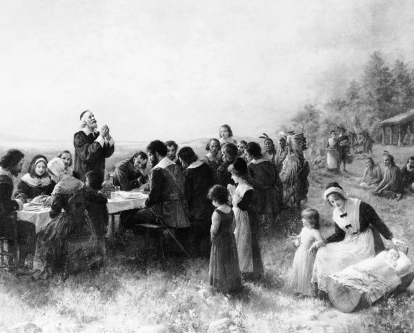 Painting of Thanksgiving at Plymouth, Massachusetts