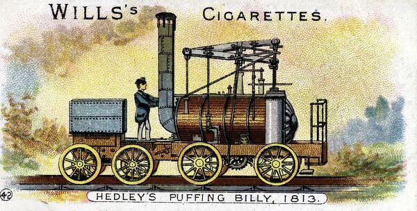 Puffing Billy', William Hedley's railway locomotive patented 1813. It began work in that year and continued in use until 1872. Chromolithograph 1901