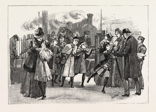 At The Railway Station: Home For The Holidays, 1890 Engraving