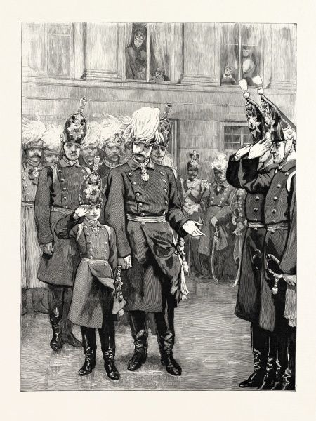 The Reception Of The Crown Prince Of Prussia Into The First Regiment Of Guards At Potsdam: The German Emperor Introducing His Son To The Regiment, The Crown Prince, Being The Youngest Officer, Mached Behind The First Platoon, And After The Inspection Was Over