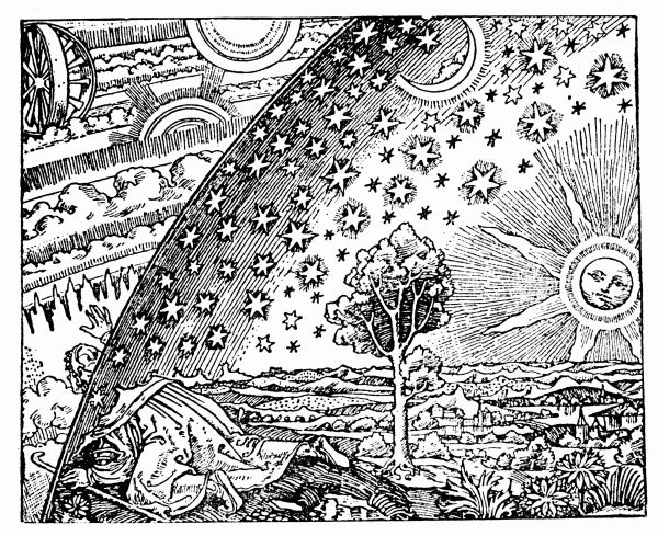 Reconstruction of medieval conception of the universe showing a flat earth surrounded by the crystalline spheres. Figure on left has broken through outermost of these to find the celestial machinery by which they are moved. Woodcut