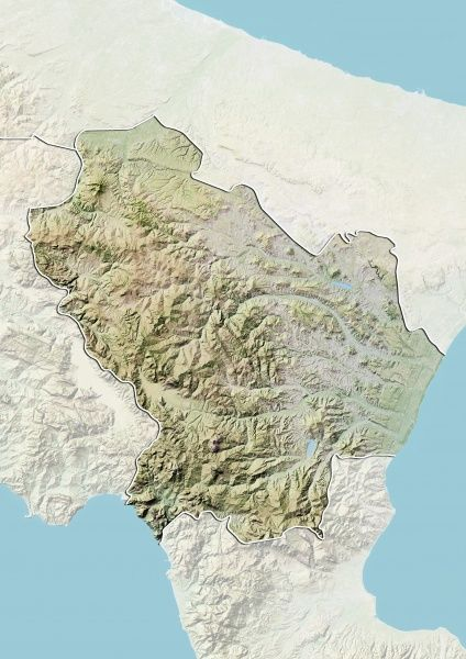 Prints Of Region Of Basilicata Italy Relief Map 9613425