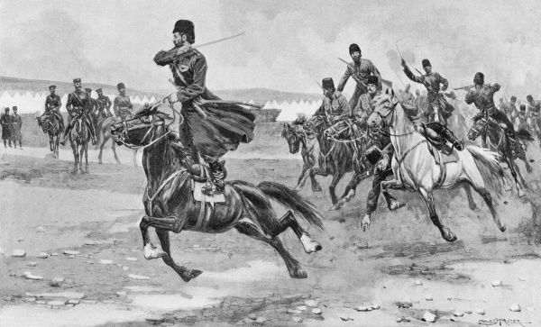 Russian Cossacks. Russo - Japanese War 1904 - 1905: Russian Cossacks at drill