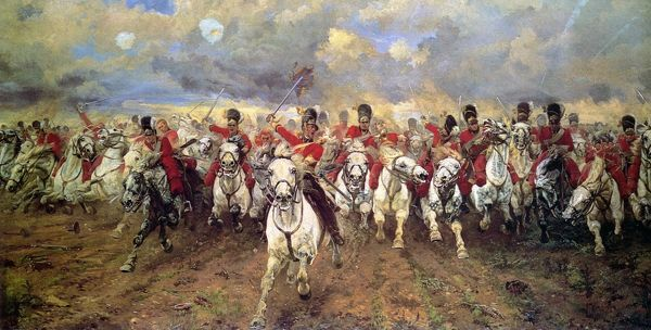 'Scotland for Ever'. The charge of the Scots Greys at Waterloo, 18 June 1815. After the painting by Lady Butler