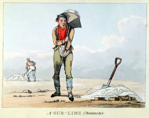 A Sub-Lime Character. Building labourer carrying hod of mortar. Pun. Early 19th century aquatint