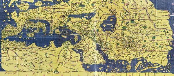 The Tabula Rogeriana, drawn by al-Idrisi for Roger II of Sicily in 1154, an important ancient world map