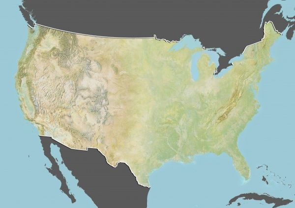 Relief Map Of United States.United States Relief Map With Border And Mask Relief Map Of The