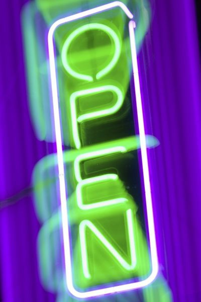 Purple And Green Neon Open Sign 10164808 Framed Prints Wall Art