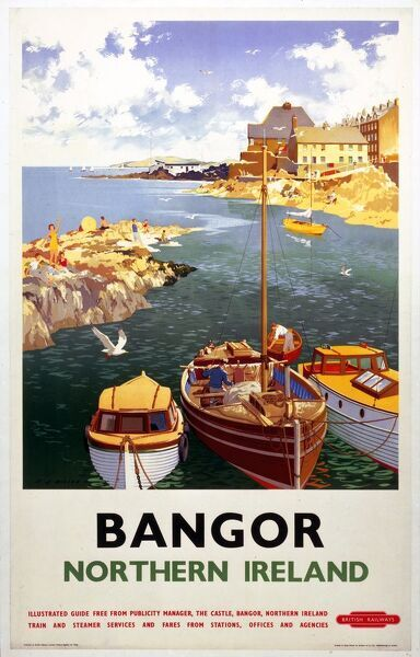 Poster produced for British Railways (BR) London Midland Region to promote rail travel to the seaside town of Bangor, County Down, Northern Ireland. The poster shows a view of boats in the harbour, with holidaymakers sunbathing on the rocks